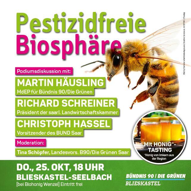 Pestizidfreie Biosphäre - Veranstaltung der Blieskasteler Grünen am 25.10.2018